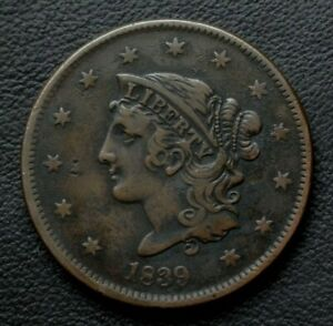 1839 CORONET LARGE CENT VF      BOOBY HEAD TOUGH IN THIS GRADE