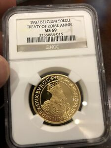Click now to see the BUY IT NOW Price! 1987 BELGIUM GOLD 50 ECU TREATY OF ROME ANNIV. NGC MS69