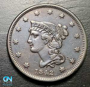 1842 BRAIDED HAIR LARGE CENT     MAKE US AN OFFER   B9218
