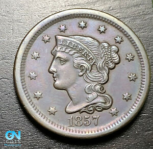 1857 BRAIDED HAIR LARGE CENT     MAKE US AN OFFER   B9227