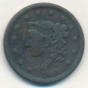 1838 CORONET HEAD LARGE CENT A NICE CIRCULATED LARGE CENT SHIPS FREE  INV:2