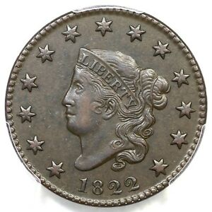 Click now to see the BUY IT NOW Price! 1822 N 9 R 5  PCGS AU 50 MATRON OR CORONET HEAD LARGE CENT COIN 1C