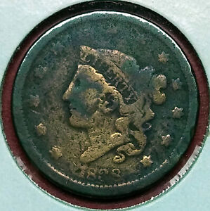1838 CORONET HEAD US LARGE CENT TYPE 2 LIBERTY/MATRON  YOUNG HEAD  VG CONDITION