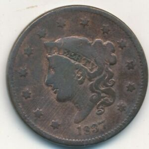 1837 CORONET HEAD LARGE CENT A NICE CIRCULATED LARGE CENT SHIPS FREE  INV:2