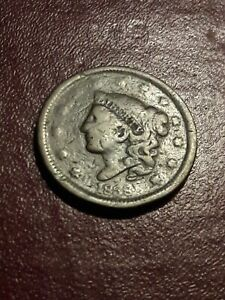 1838 US CORONET HEAD LARGE CENT COIN.