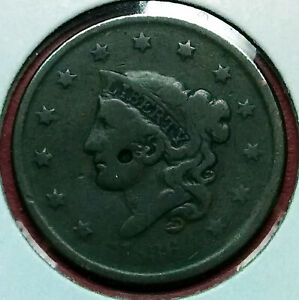 1836 CORONET HEAD US LARGE CENT TYPE 2 LIBERTY/MATRON F CONDITION