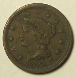 1854 LARGE CENT CIRCULATED CONDITION DARK OBVERSE