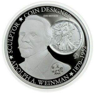 2015 1 OZ PROOF SILVER $1 TUVALU DESIGNERS OF AMERICA COINS ADOLPH WEINMAN COIN.