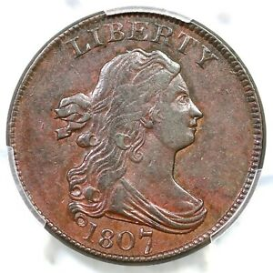 Click now to see the BUY IT NOW Price! 1807 C 1 PCGS AU 53 DRAPED BUST HALF CENT COIN 1/2C