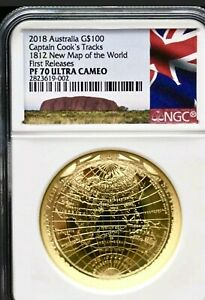 Click now to see the BUY IT NOW Price! 2018 AUSTRALIA 1 OZ GOLD $100 1812 MAP OF THE WORLD PROOF COIN PR 70 NGC BOX/COA