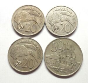 4 NEW ZEALAND COINS   1967 20 CENTS 1973 20 CENTS 1967 50 CENTS B 7