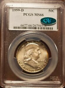 Click now to see the BUY IT NOW Price! 1959 D 50C FRANKLIN HALF DOLLAR PCGS MS66    CAC