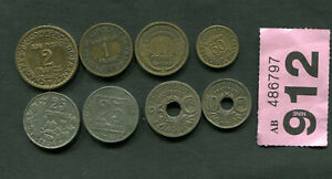 SET OF  8  COINS OF    FRANCE