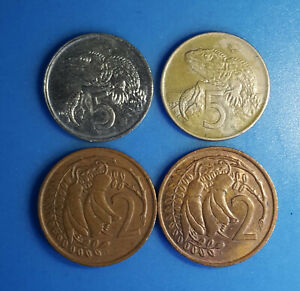 LOT 4 COIN NEW ZEALAND 2 CENTS 5 CENTS 1967 1971 1975 1978