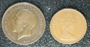 LOT OF 2 BRITISH COINS. 1918 KING. GEO. PENNY & 1971 QUEEN ELIZABETH 2 NEW PENCE