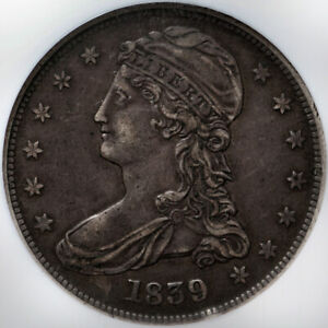 1839 CAPPED BUST HALF DOLLAR   NGC XF45   REEDED EDGE   LARGE LETTERS