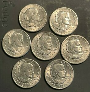 7 TOTAL  1979 D SUSAN B ANTHONY ONE DOLLAR COIN LY   7 OF THEM