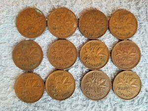 1940 42 43 44 45 46 47 47ML 48 49 51 52 GEORGEVI CANADA 1 CENTS LOTG13