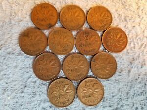 1940 42 43 44 45 46 47 47ML 48 49 51 52 GEORGEVI CANADA 1 CENTS LOTG14