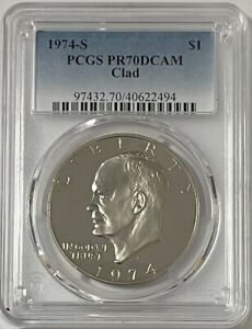 Click now to see the BUY IT NOW Price! 1974 S EISENHOWER IKE CLAD DOLLAR PCGS PR7 DCAM     POP. 27