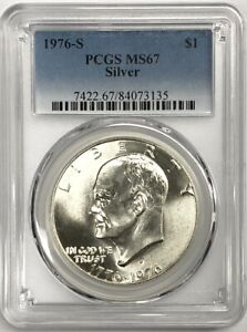 Click now to see the BUY IT NOW Price!  4  FOUR 1976 S EISENHOWER   40   SILVER DOLLAR   PCGS MS 67 LOT OF 4 COINS