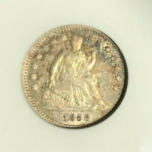 1858 SEATED LIBERTY SILVER HALF DIME ANACS EF/XF45 DETAILS  RAINBOW TONED