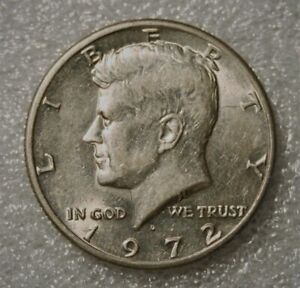 1972 D KENNEDY HALF DOLLAR FROM UNCIRCULATED US MINT ROLL