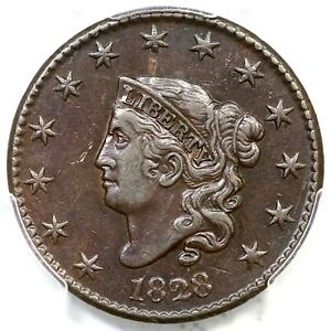 1828 N 9 R 4 PCGS XF DETAILS LG NARROW DATE MATRON OR CORONET HEAD LARGE CENT 1C