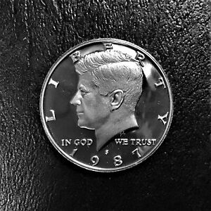1987 S CAMEO PROOF KENNEDY HALF DOLLAR 50 FIFTY CENTS FROM PROOF SET BU PROOF