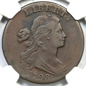 1798 S 169 R 3 NGC VF 25 DRAPED BUST LARGE CENT COIN 1C