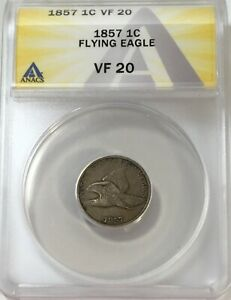 1857 FLYING EAGLE CENT PENNY 1C CIRCULATED ANACS VF20 FINE