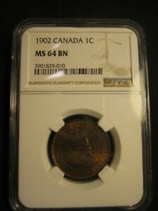 CANADA 1902   LARGE CENT   $0.01   MS 64   BN   NGC    10121