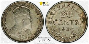Click now to see the BUY IT NOW Price! NEWFOUNDLAND CANADA 1904   H EDWARD VII 20 CENTS. PCGS AU 55. 75 000 MINTAGE.