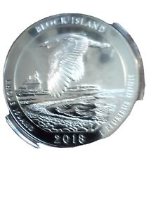 2018 P AMERICA THE BEAUTIFUL BLOCK ISLAND 5 OZ. SILVER QUARTER COIN ONLY