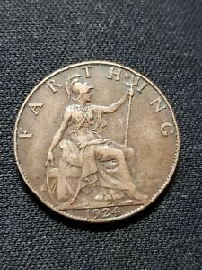 1924 UK GB GREAT BRITAIN FARTHING COIN