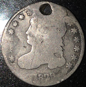1829 CAPPED BUST DIME W/HOLE