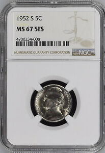 Click now to see the BUY IT NOW Price! 1952 S 5C FS JEFFERSON NICKEL NGC MS67 5FS              4700234 008
