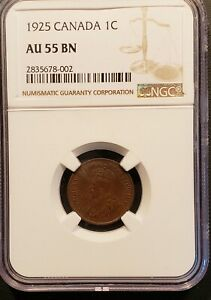 1925 CANADA 1 CENT COIN NGC AU 55 BN  KM 28