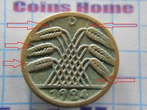 COINS HOME CRACKED CLICHE ERROR 1924 D GERMANY 5 PFENNIG SETTRA53 UNCERTIFIED