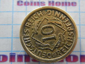 COINS HOME CRACKED CLICHE ERROR 1924 D GERMANY 10 PFENNIG SETTRA54 UNCERTIFIED