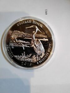 2015 AMERICA THE BEAUTIFUL BOMBAY HOOK 5 OZ .999 SILVER COIN