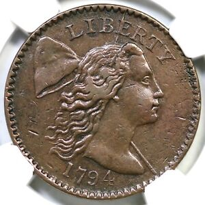 1794 S 49 R 2 NGC XF 40 LIBERTY CAP LARGE CENT COIN 1C EX: LUER