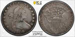 1806 DRAPED BUST HALF DOLLAR >O 111A 6 OVER INVERTED 6< PCGS VF25 >FAST SHIPPING