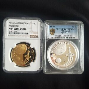 Click now to see the BUY IT NOW Price! FUJAIRAH UAE 1970 GOLD 100 & 10 RIYALS APOLLO 11 SPACE NGC PF64 MINTAGE 550