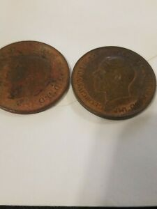 2 LARGE PENNIES GREAT BRITAIN 1936 AND 1938