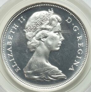 Click now to see the BUY IT NOW Price! 1966 $1 CANADA SILVER PROOF LIKE  ELIZABETH II  LARGE BEADS PCGS PL66 GEM