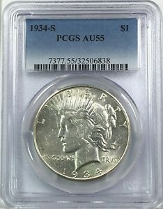 1934 S PEACE DOLLAR SILVER S$1 ABOUT UNCIRCULATED PCGS AU55