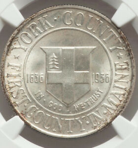 A LUSTROUS WHITE GEM 1936 50C YORK COUNTY MAINE TERCENTENARY NGC MS67