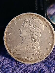 1838  REEDED EDGE CAPPED BUST HALF DOLLAR XF