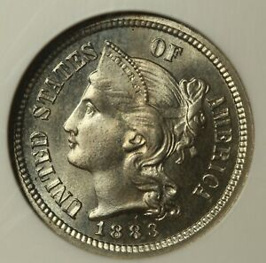 1883 THREE CENT NICKEL NGC PR65  CAC APPROVED PROOF.